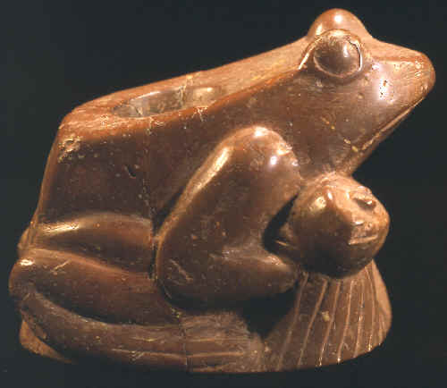 Late Mississippian Rattler Frog Effigy Pipe