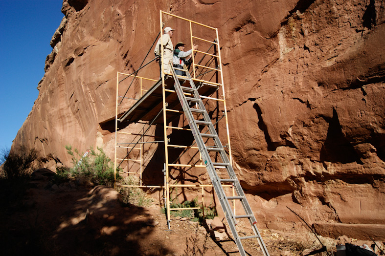 Scaffolding in place to access the mammoth petroglyphs.
