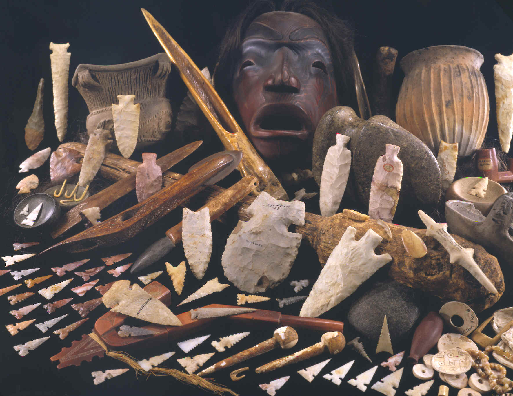 """Spirits Of The Past"""", many different Stone Age Artifacts."""