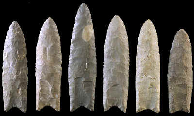 Six Clovis points from east of the Mississippi River.