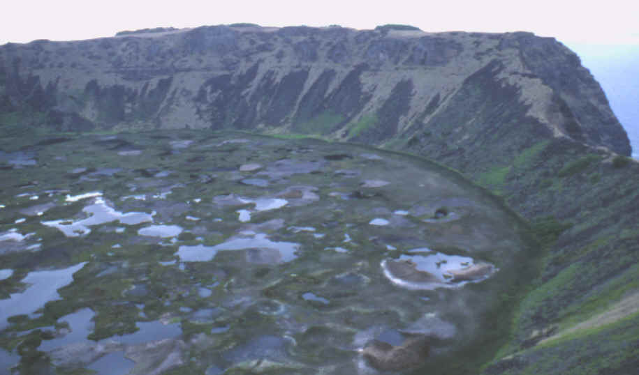 Crater lake on Easter Island called Rano Kau.