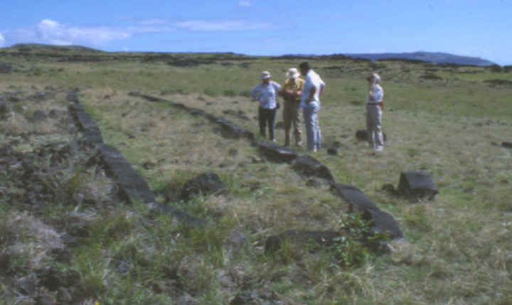 Elliptical house foundation on Easter Island.