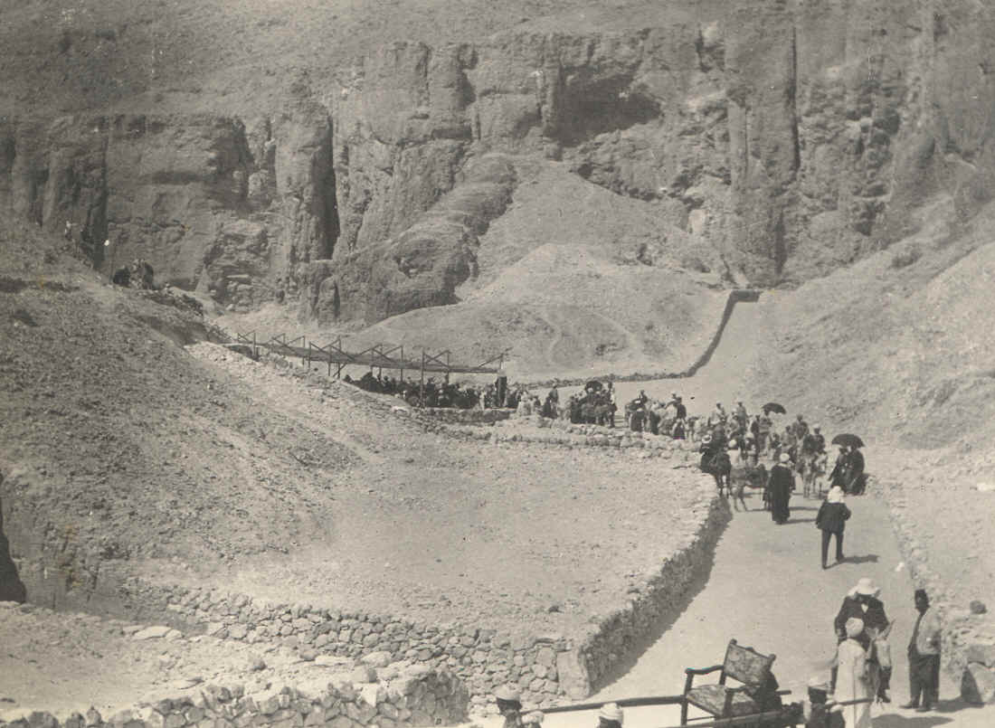 Picture taken in 1903 of tourists walking in the Valley of the Kings, Egypt.