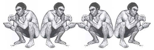 Drawing of early human making stone tool.