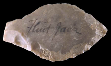 A projectile point made by Flint Jack.