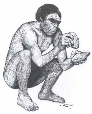 Primative early human making a stone tool.