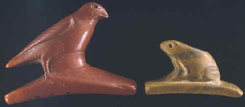 Two Hopewell effigy pipes from southern Illinois.
