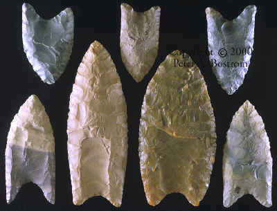 Group of seven fluted points from the Vail site.